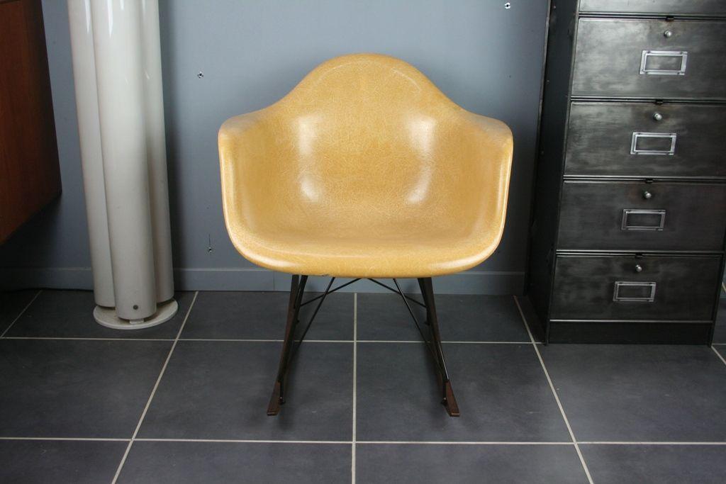 RAR Light Ochre Rocking Chair by Charles Ray Eames for Herman
