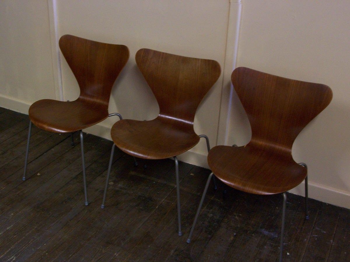 d nische vintage st hle von arne jacobsen f r fritz hansen 1960er 3er set bei pamono kaufen. Black Bedroom Furniture Sets. Home Design Ideas