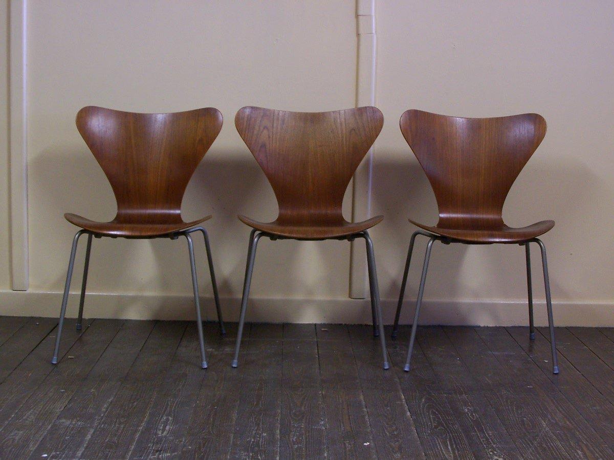 vintage danish chairs by arne jacobsen for fritz hansen 1960s set of 3 for sale at pamono. Black Bedroom Furniture Sets. Home Design Ideas