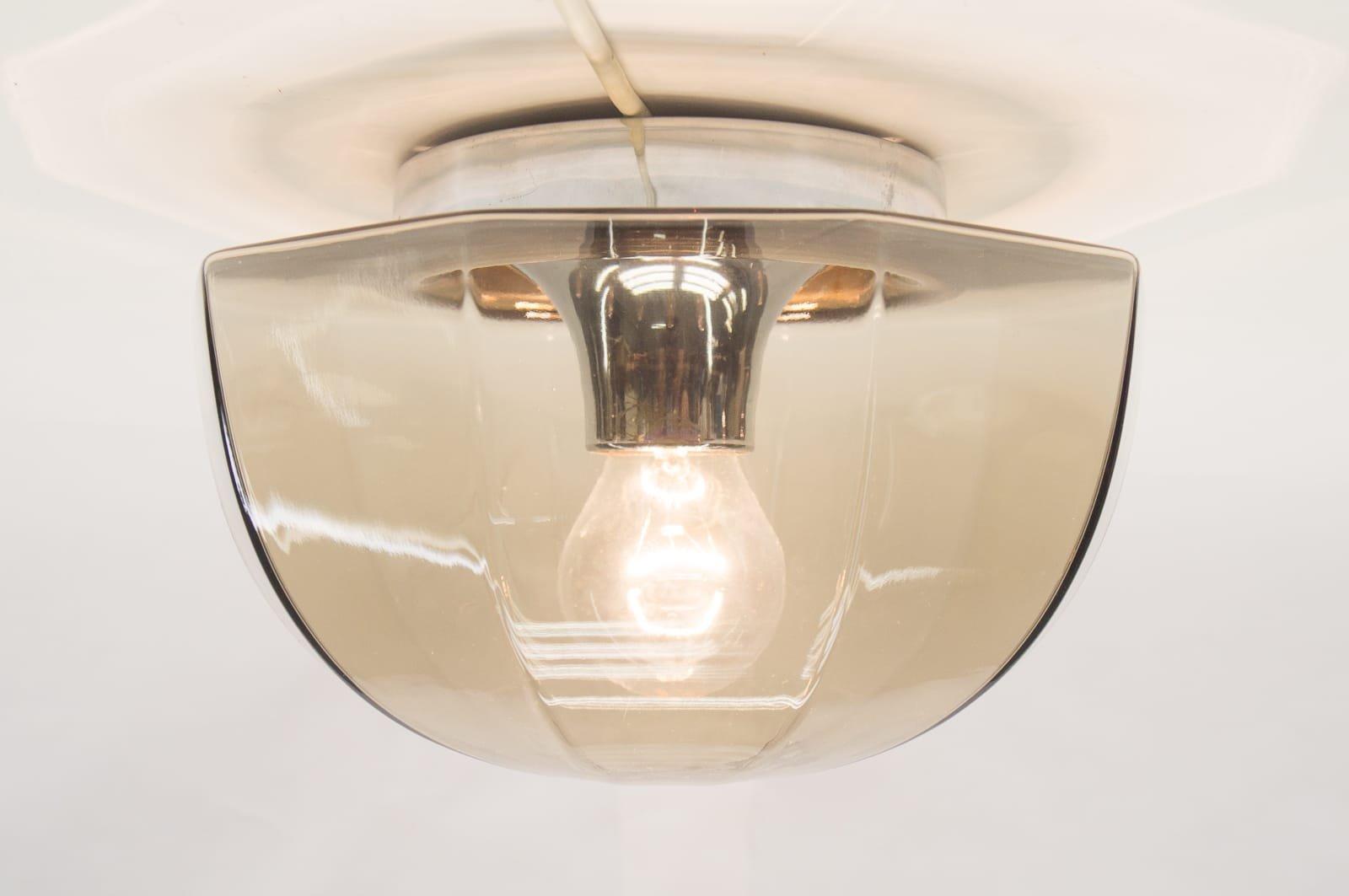 smoked glass u0026 chrome wall lamp 1960s