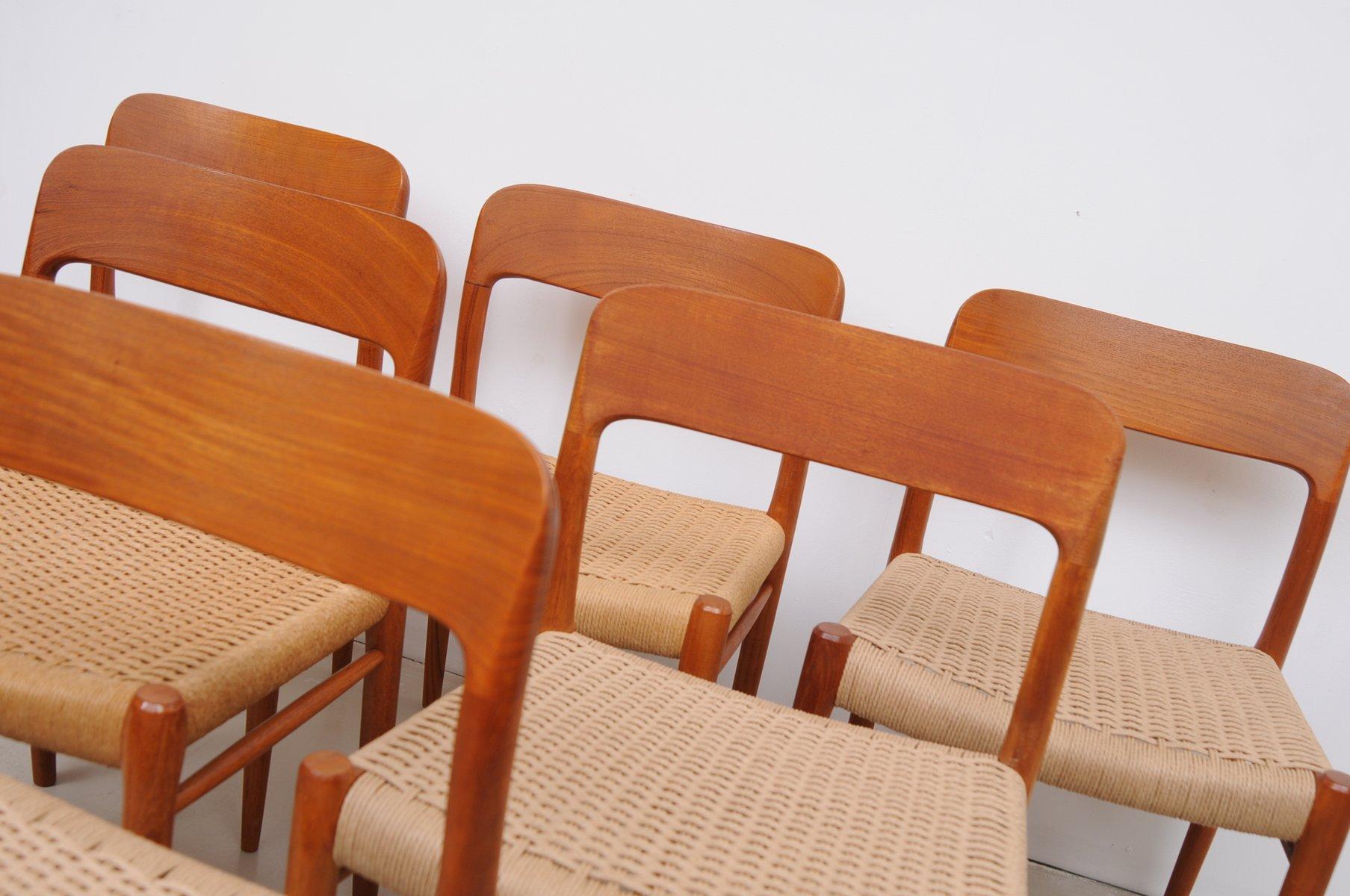 Danish Teak Chairs Mod 75 by Niels M¸ller for J L Müller 1950s