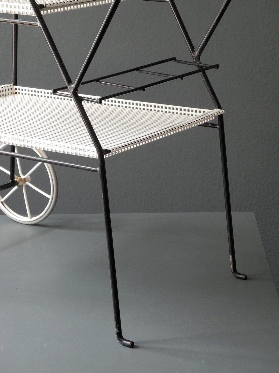 mid century servierwagen aus gelochtem metall bei pamono. Black Bedroom Furniture Sets. Home Design Ideas