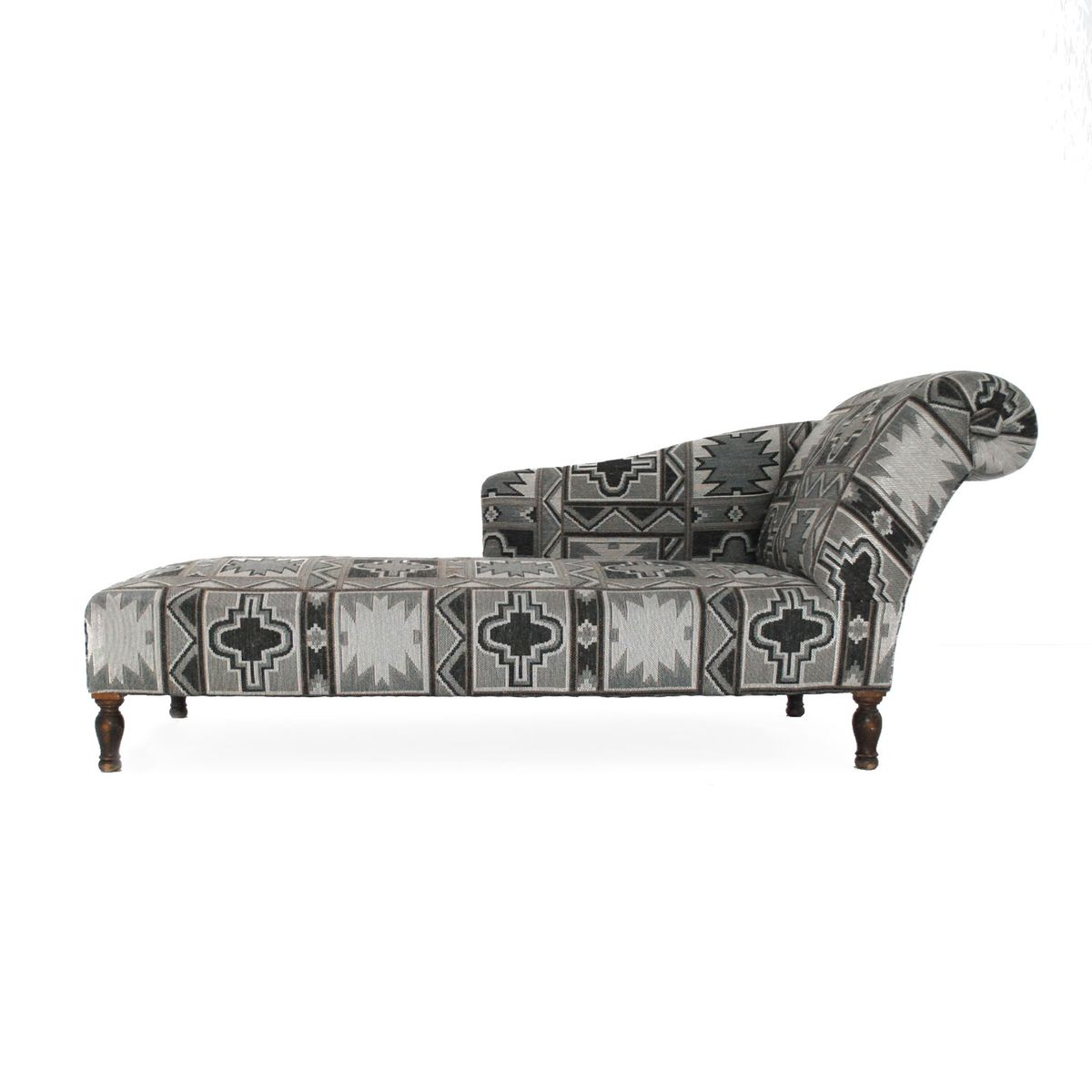 french chaise longue with geometric print 1940s for sale. Black Bedroom Furniture Sets. Home Design Ideas