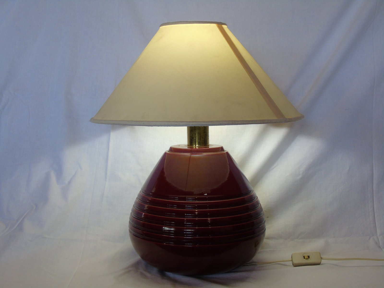 Vintage Red Ceramic Table Lamp, 1960s