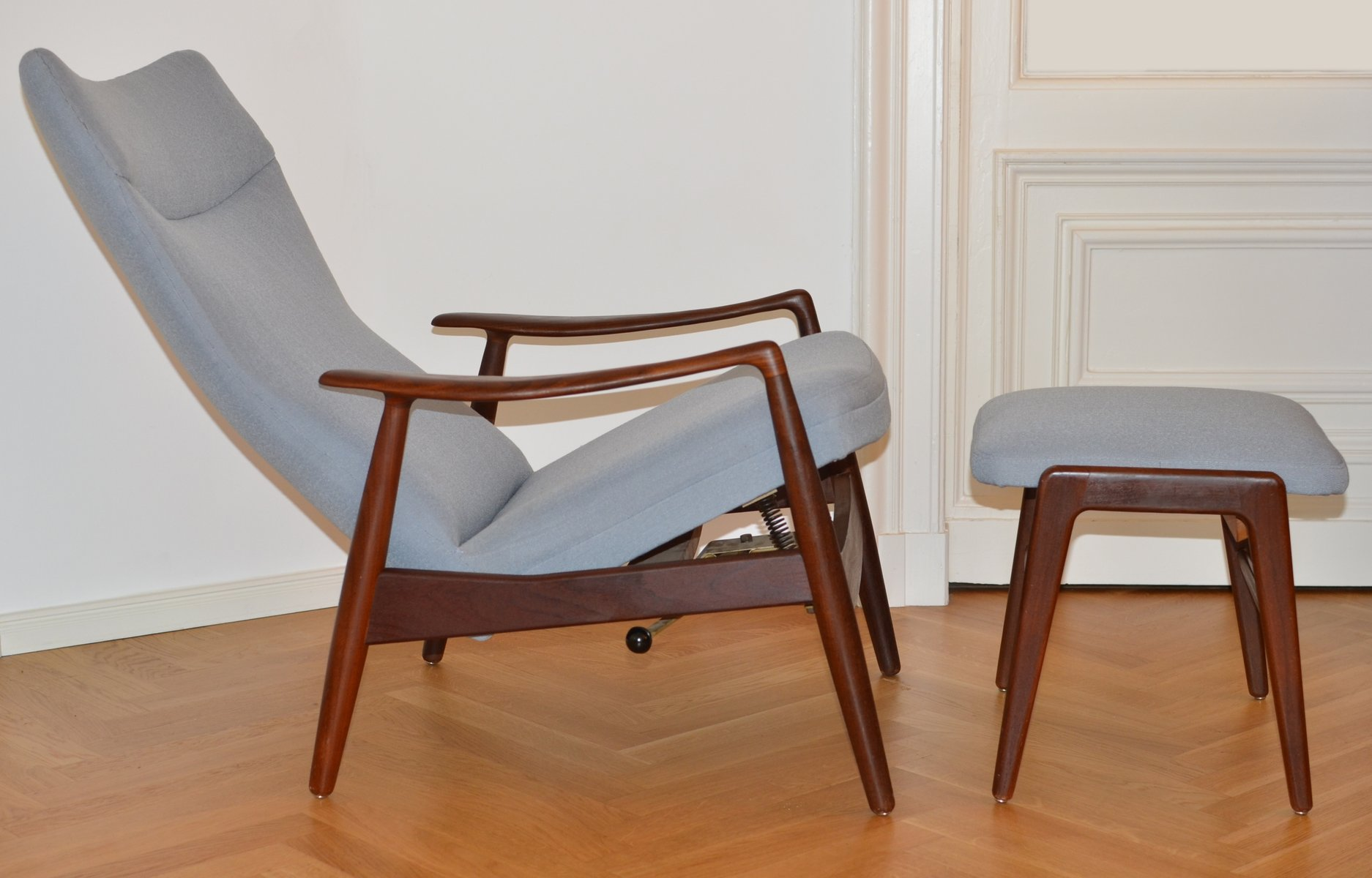 Vintage Teak Reclining Lounge Chair & Ottoman by Alf Svensson for