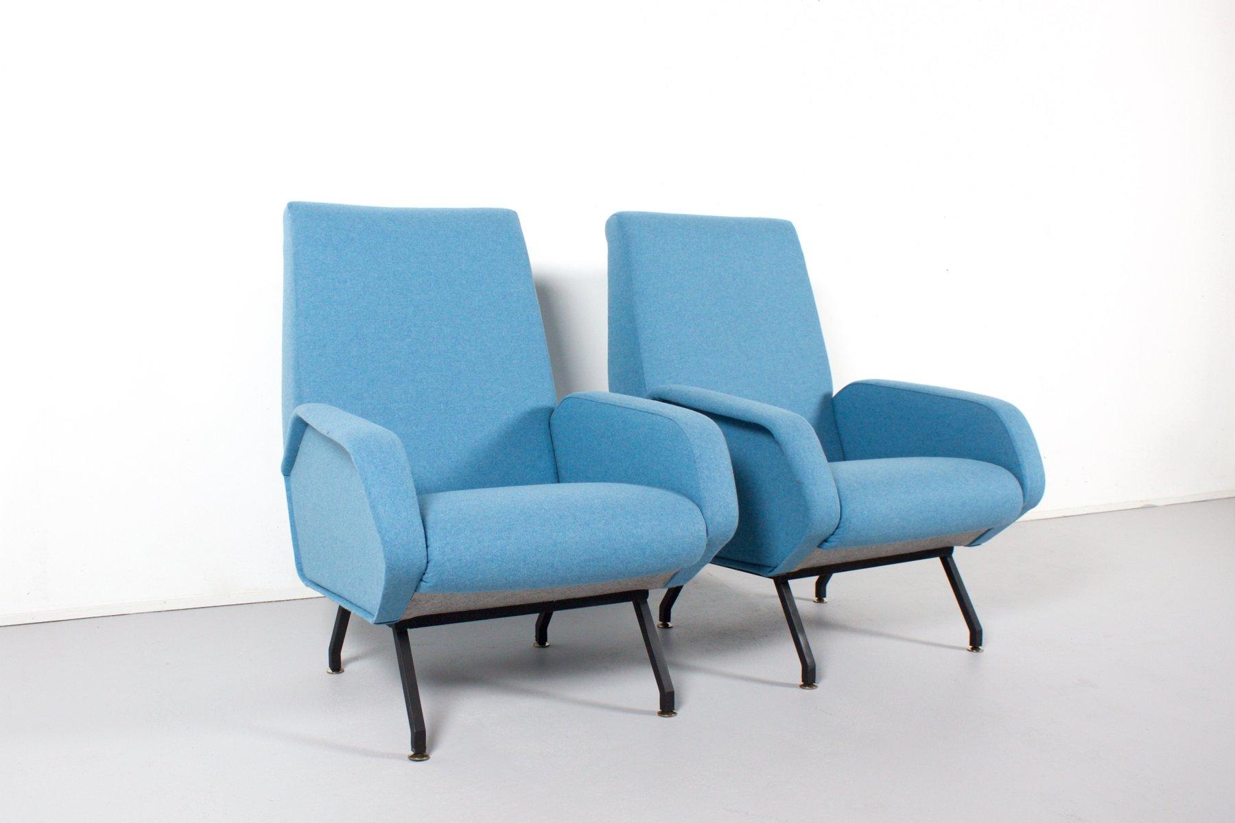 italienische mid century sessel in hellblauer wolle bei pamono kaufen. Black Bedroom Furniture Sets. Home Design Ideas