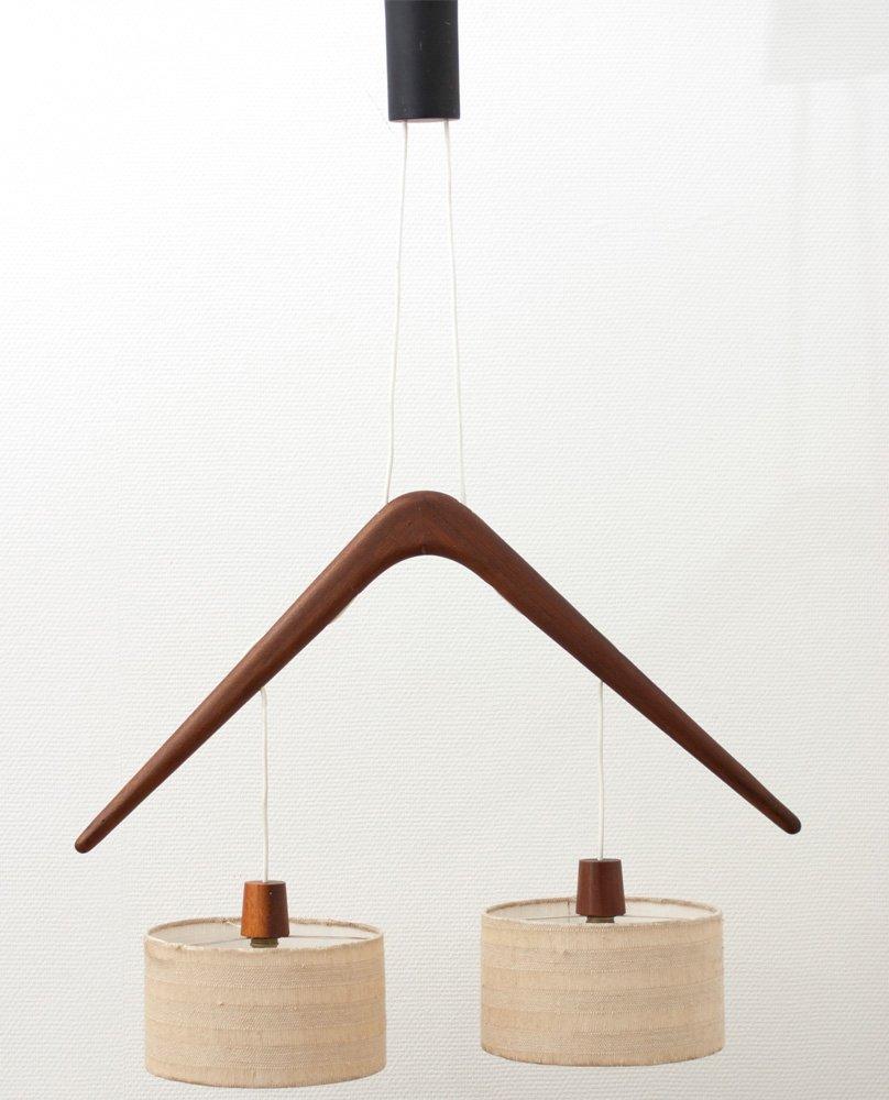 Luminaire Pendulum Mid Century En Teck France 1950s En