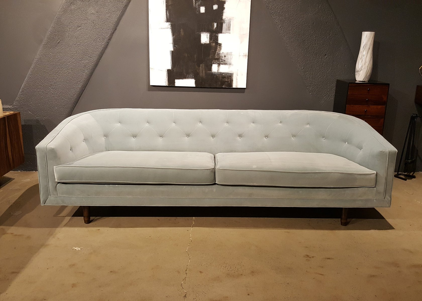 Mid century american pale grey velvet sofa from selig for Grey couches for sale