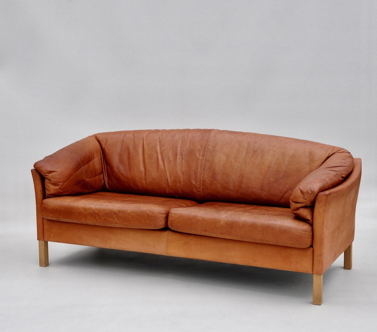 Vintage danish light tan leather sofa by mogens hansen for for Tan couches for sale