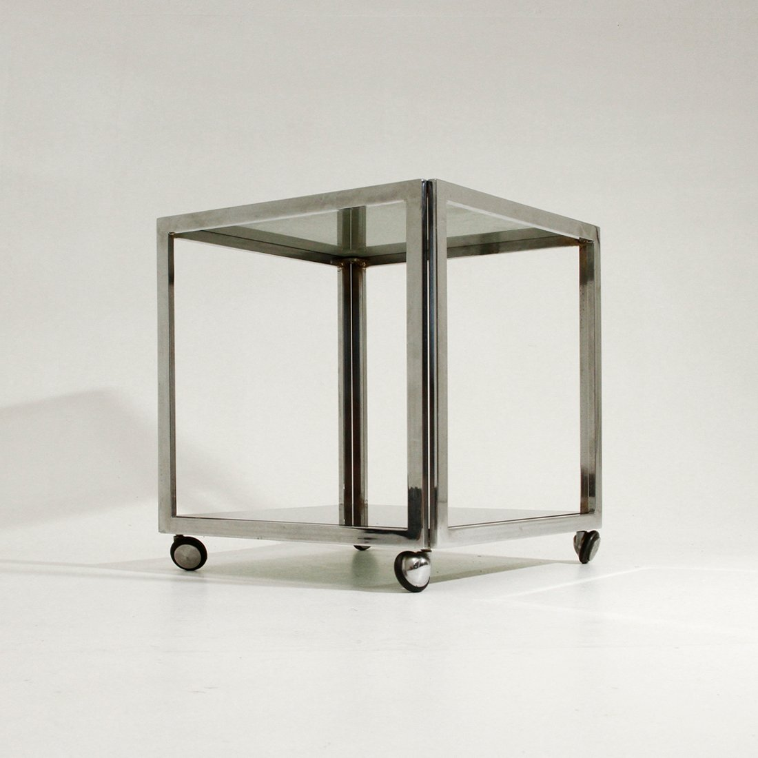 Good Vintage Chromed Metal Side Table On Wheels, 1970s