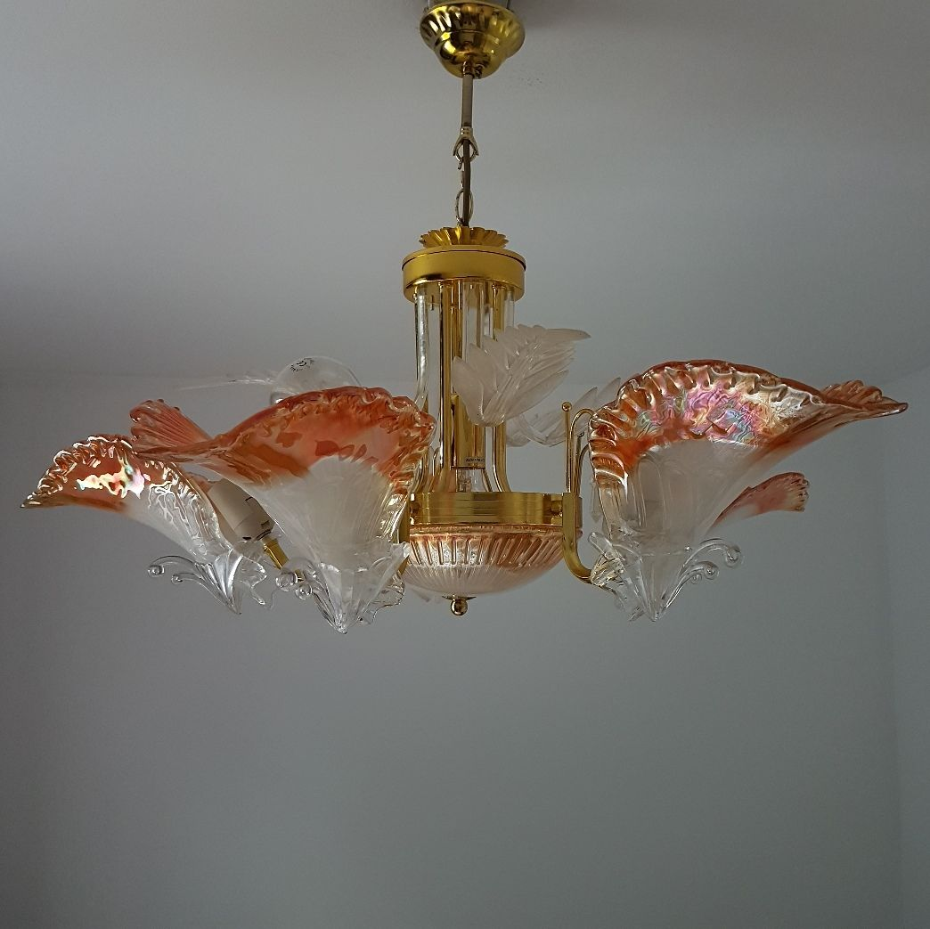 Vintage Italian Gold Plated Chandelier From Murano 1980s