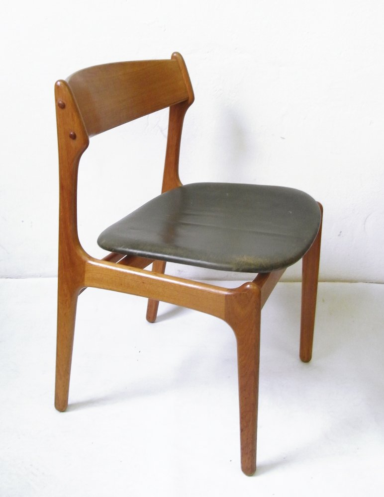 Vintage teak dining chair with genuine leather by erik for Genuine leather dining room chairs