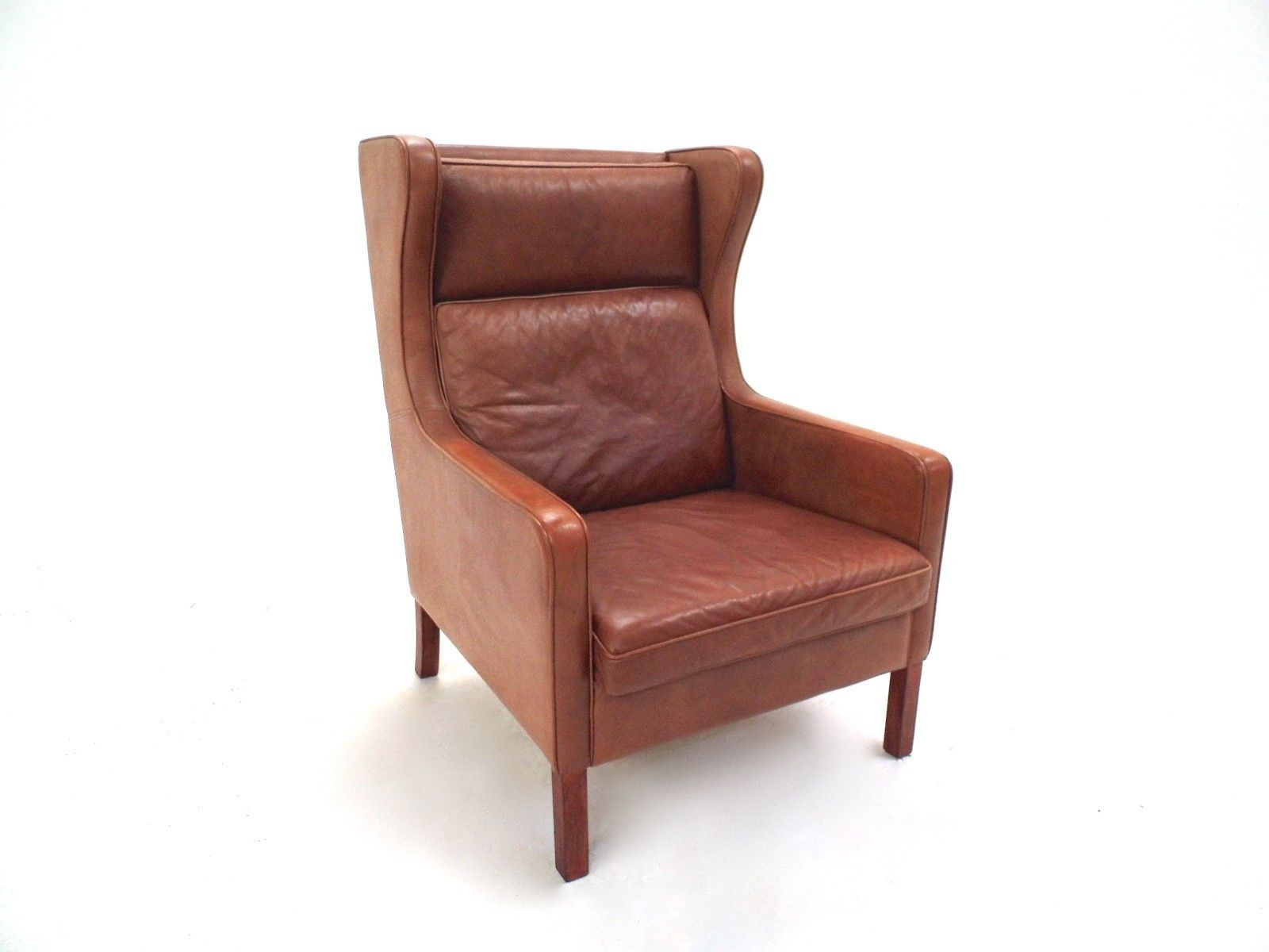 Danish Tan Leather Highback Armchair from Stouby 1960s for sale