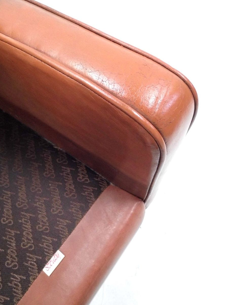 Danish Tan Leather Highback Armchair From Stouby 1960s