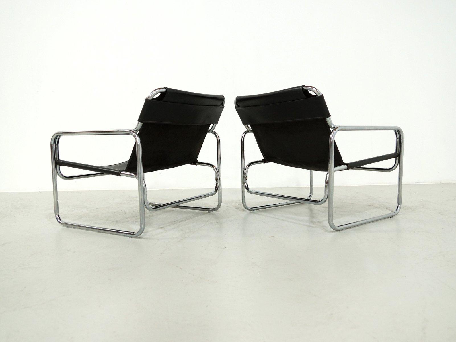 italienische schwarze leder attico st hle von antonello mosca f r elisse 1970er 2er set bei. Black Bedroom Furniture Sets. Home Design Ideas
