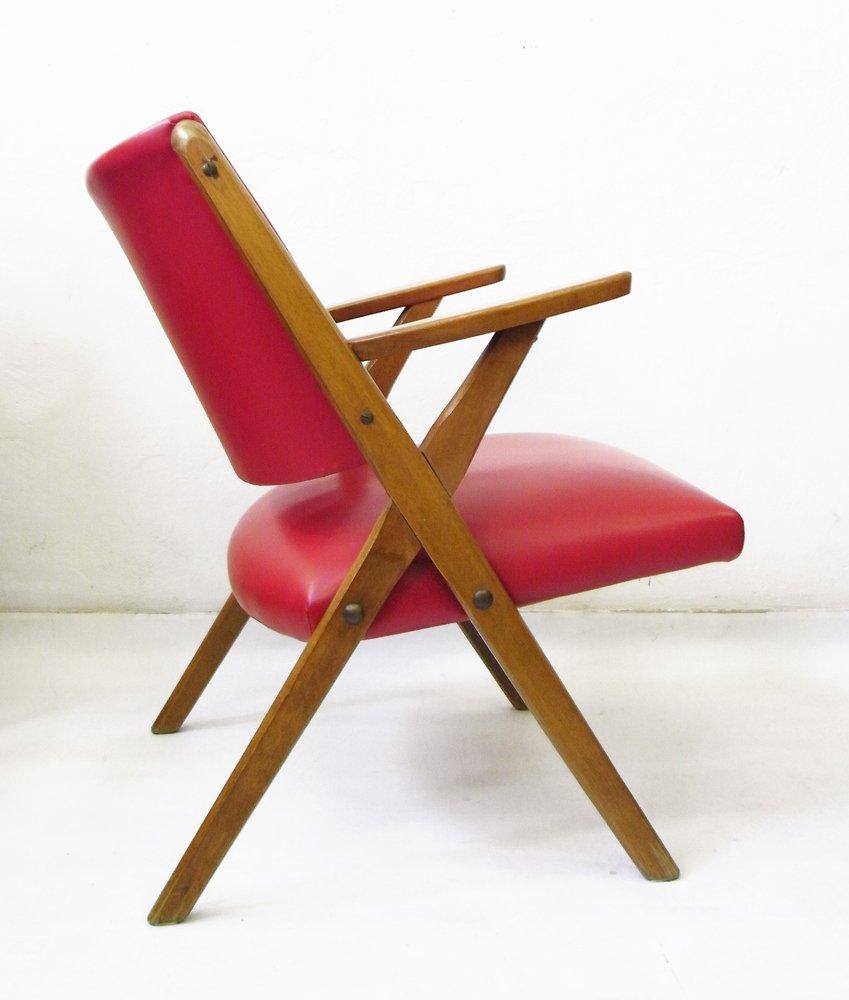 Italienischer vintage armlehnstuhl aus rotem kunstleder for Armlehnstuhl kunstleder