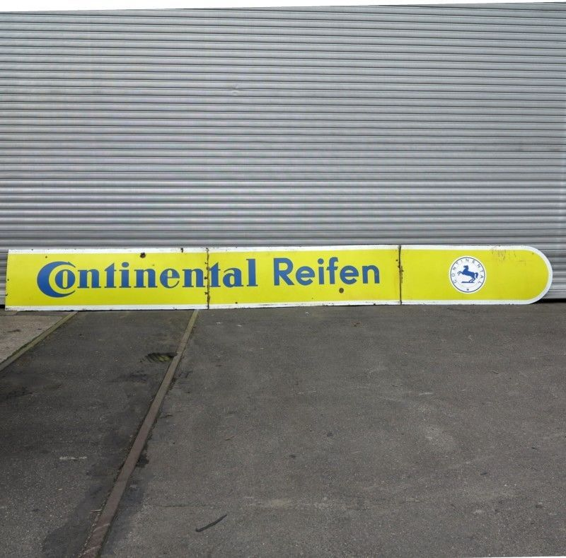 vintage three piece continental reifen enameled sign for sale at pamono. Black Bedroom Furniture Sets. Home Design Ideas