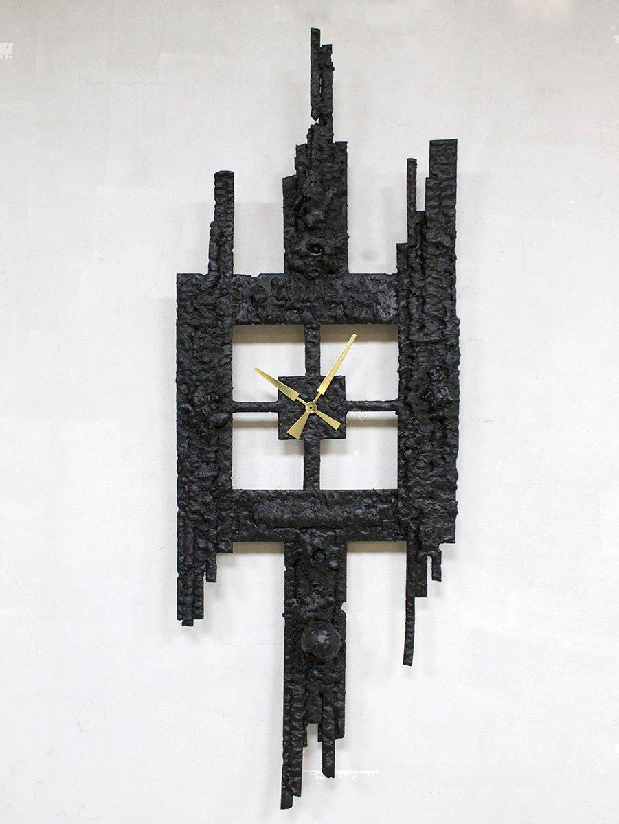brutalistische gusseisen uhr 1960er bei pamono kaufen. Black Bedroom Furniture Sets. Home Design Ideas
