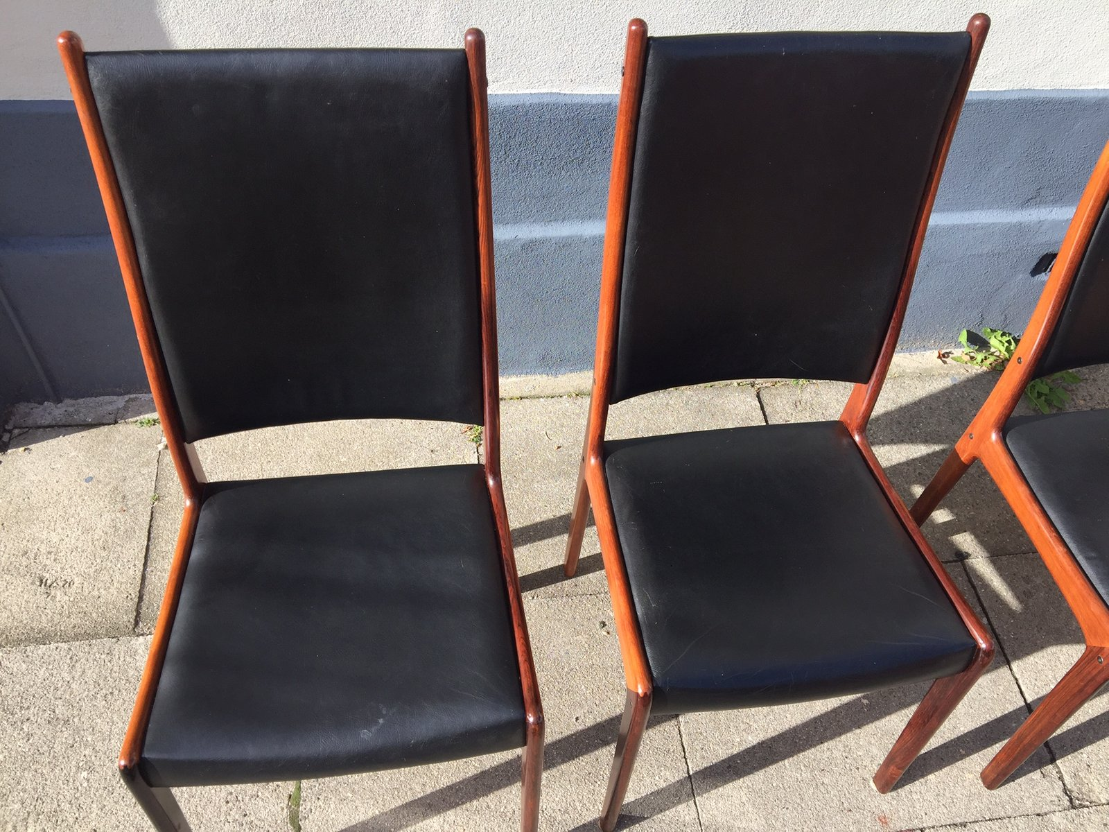 Rosewood & Leather Dining Chairs by Johannes Andersen for Mogens
