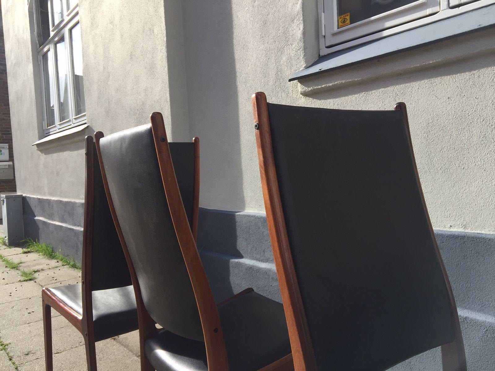palisander leder esszimmerst hle von johannes andersen. Black Bedroom Furniture Sets. Home Design Ideas