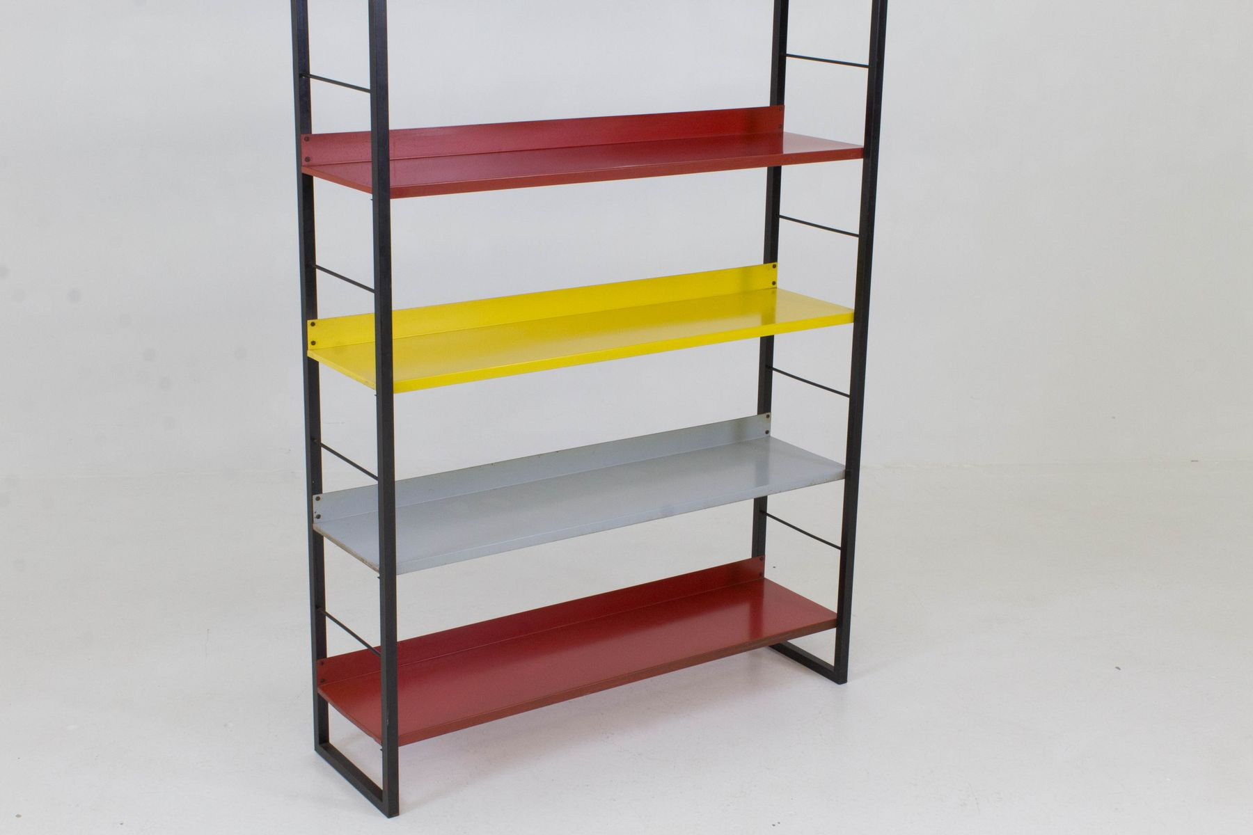 mid century modern metal standing bookshelf by tomado 1950s for