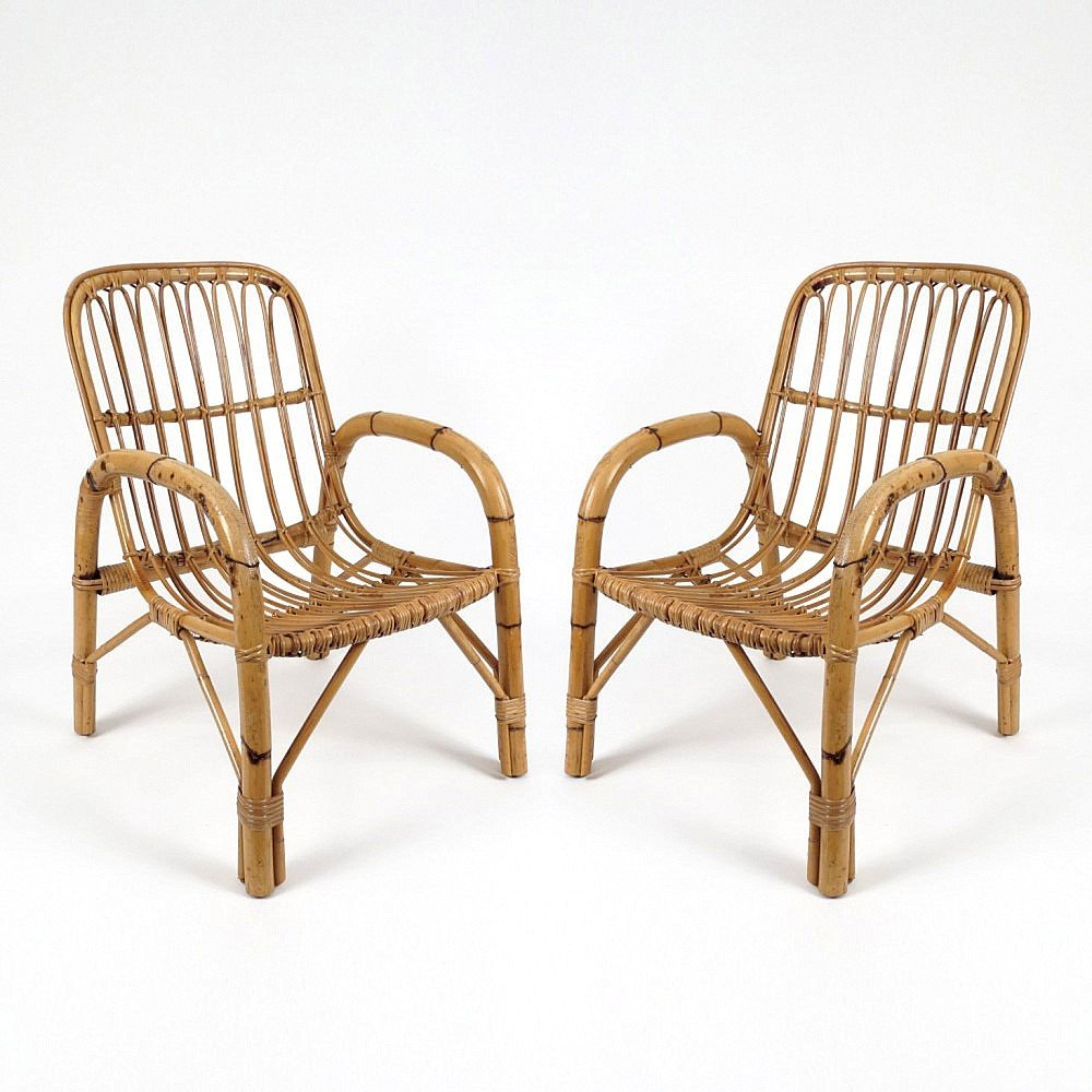 Rattan lounge  Vintage Rattan Lounge Chairs, Set of 2 for sale at Pamono
