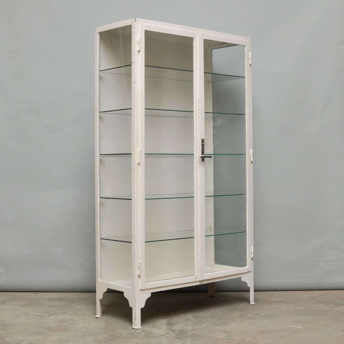 Vintage Steel and Glass Medicine Cabinet, 1940s for sale at Pamono