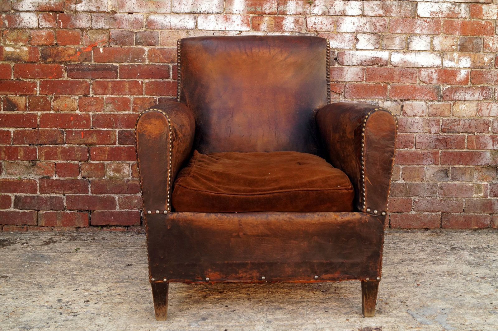 Antique leather armchair - French Leather Chair 1950s