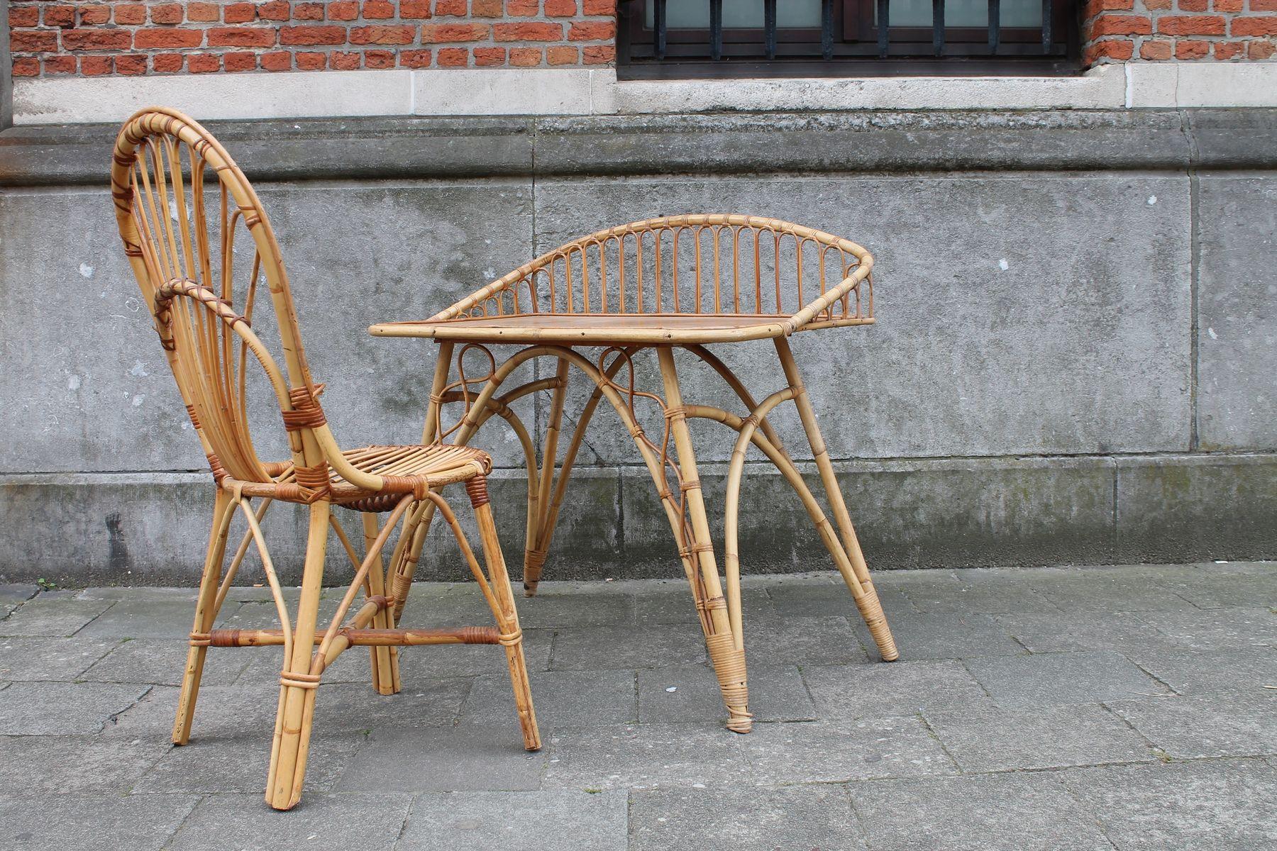 rattan schreibtisch und stuhl 1950er bei pamono kaufen. Black Bedroom Furniture Sets. Home Design Ideas