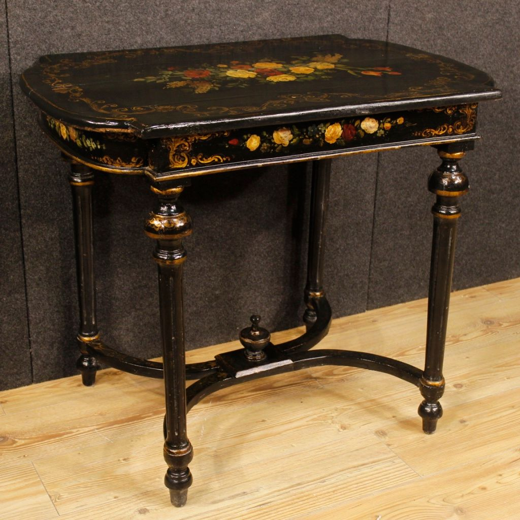 Vintage French Side Table With Floral Decorations