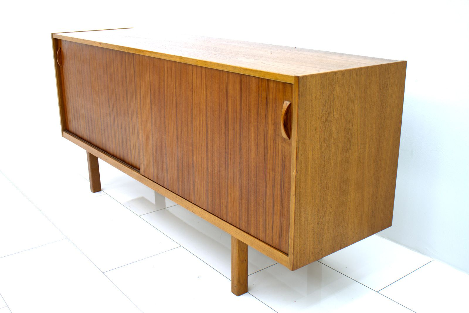 swedish teak sideboard with sliding doors 1960s for sale. Black Bedroom Furniture Sets. Home Design Ideas