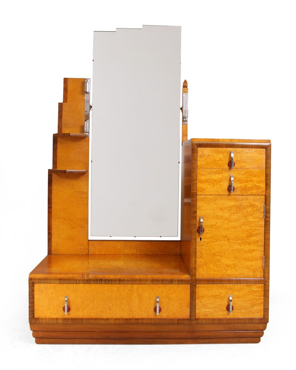 Art Deco Karelian Birch Dressing Table & Stool, 1930s for sale at ...