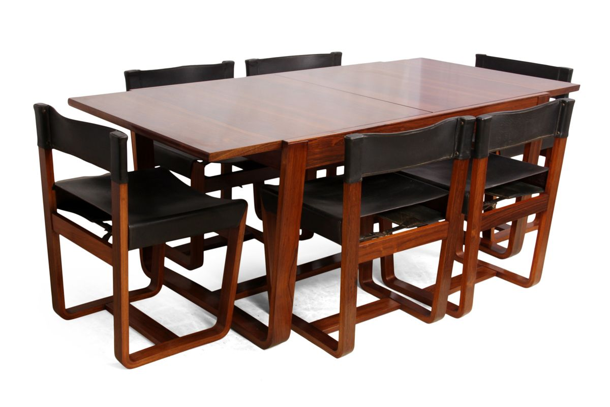 Mid Century Modern Rosewood Dining Table And Chairs By Gunther Hoffstead For Uniflex 1960s