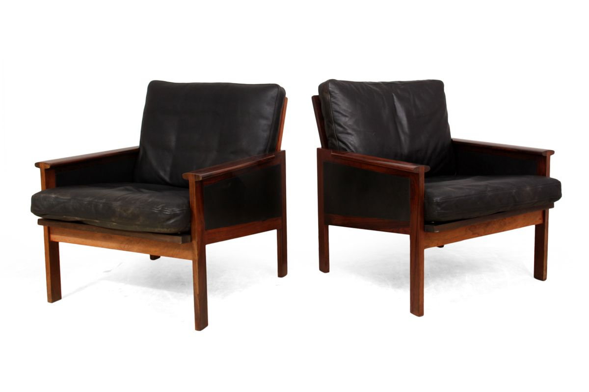 Mid century capella armchairs by illum wikkelso for for 2 armchairs for sale
