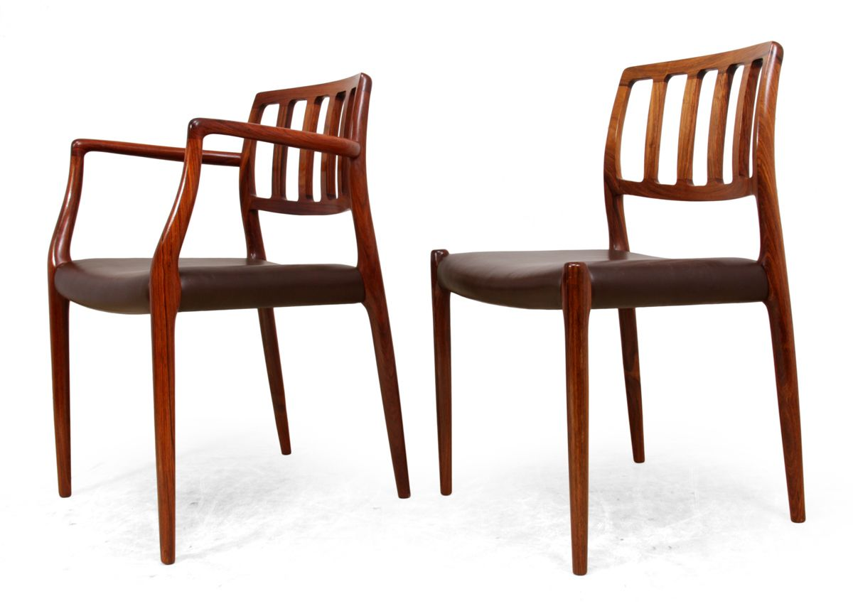 Vintage model rosewood dining chairs by niel otto