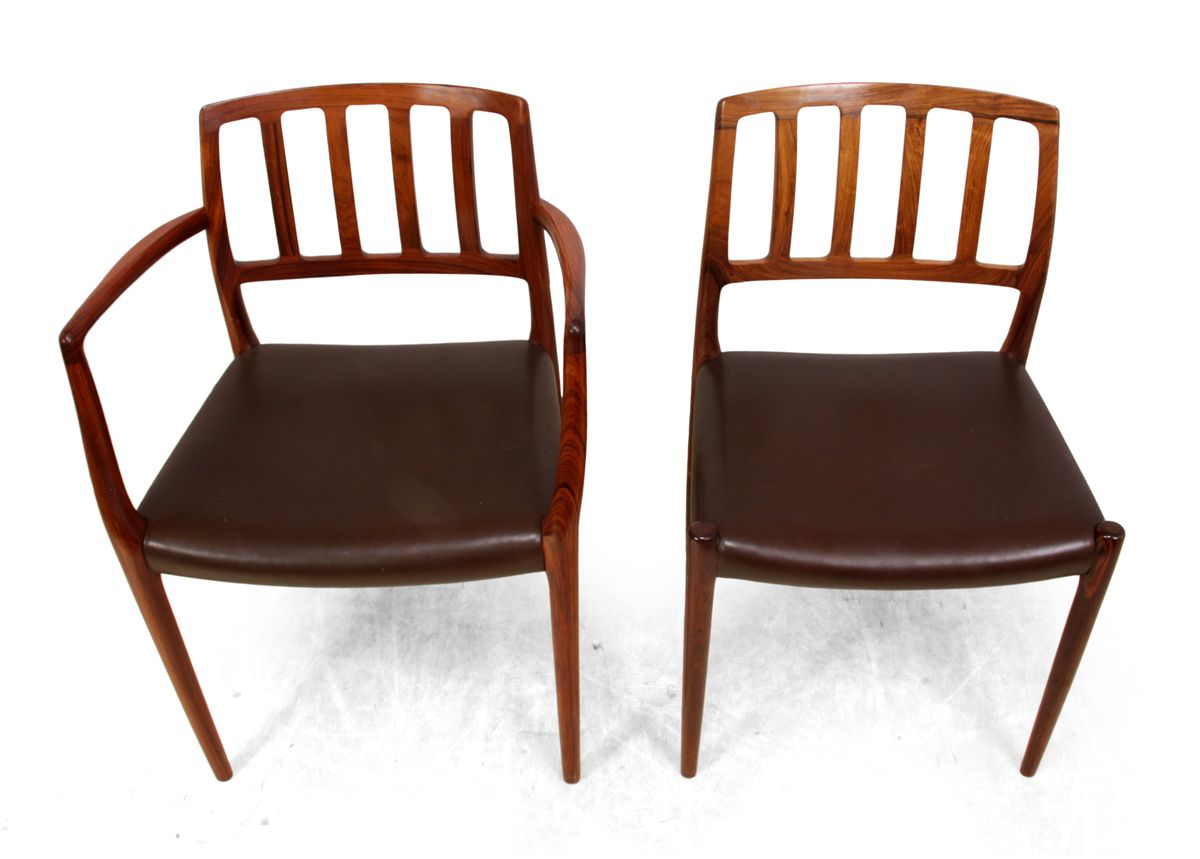 Vintage Moller Dining Chairs ~ Vintage model rosewood dining chairs by niel otto