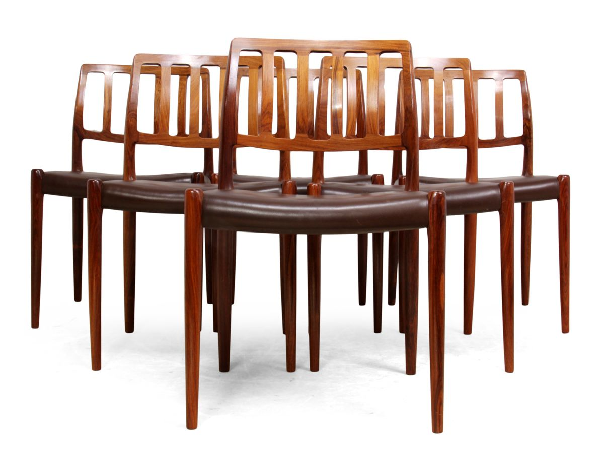 Vintage Model 83 Rosewood Dining Chairs by Niel Otto Møller, Set ...