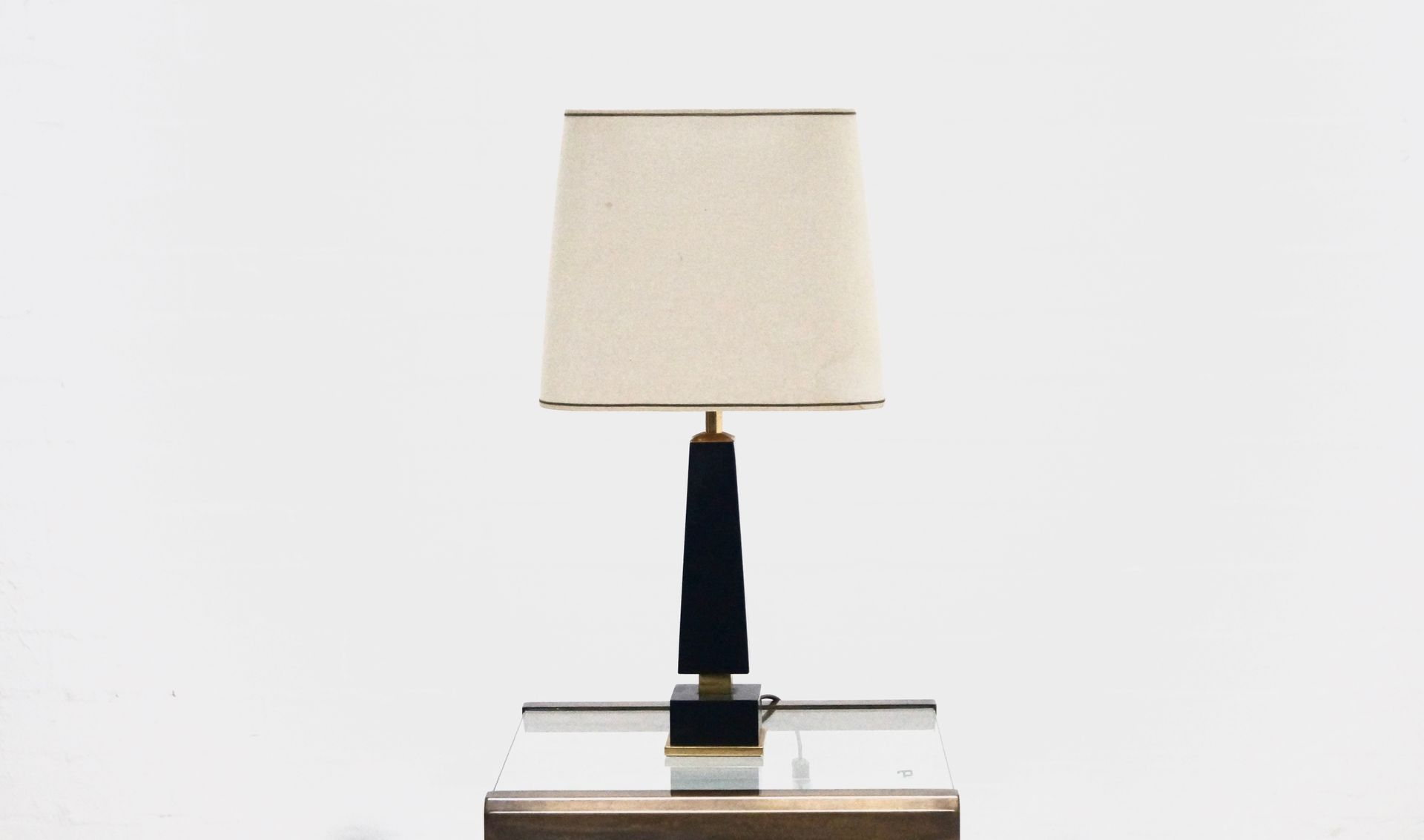 Mid Century Black Marble And Brass Table Lamp, 1970s