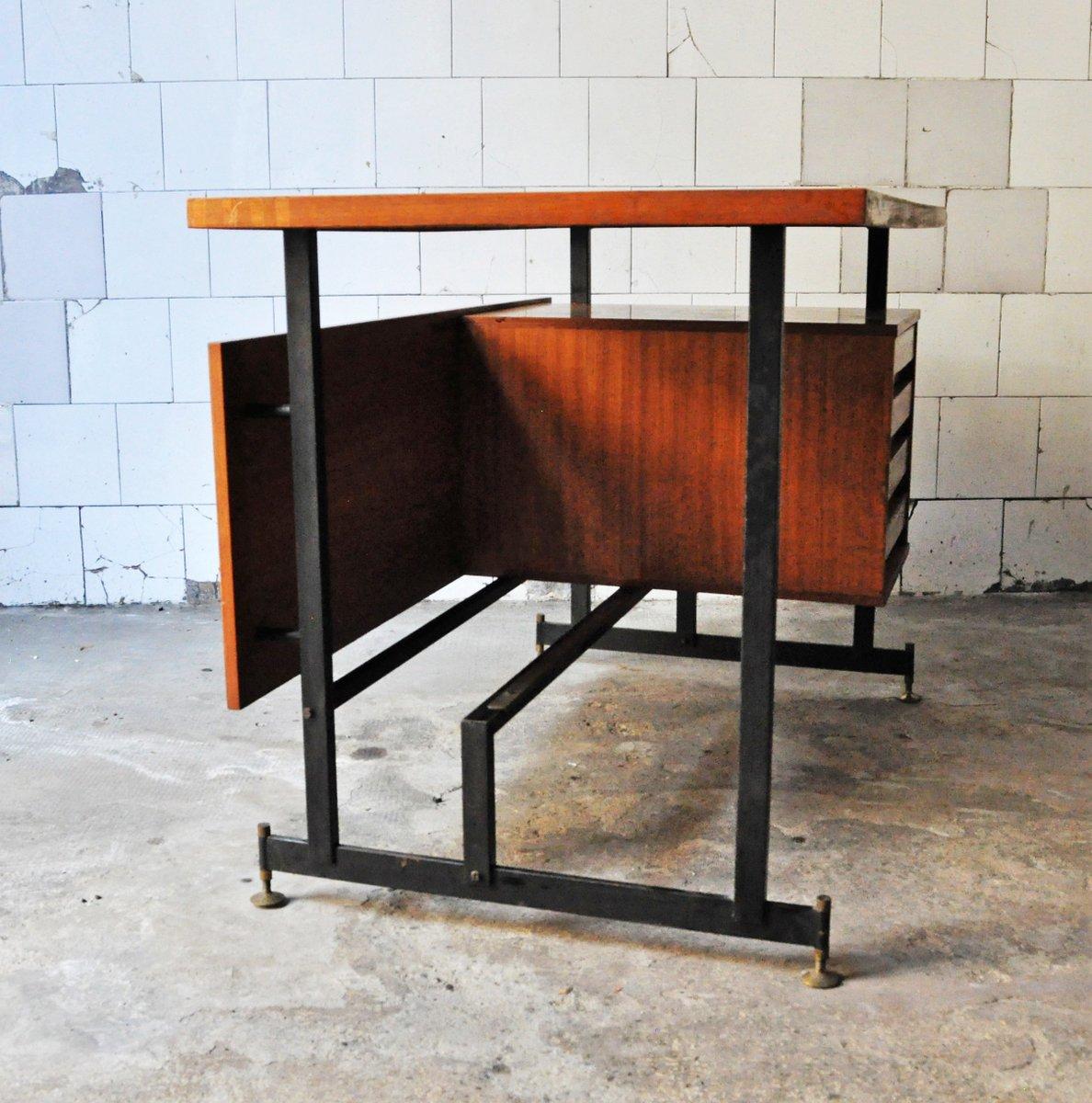italienischer mid century schreibtisch aus eisen holz. Black Bedroom Furniture Sets. Home Design Ideas