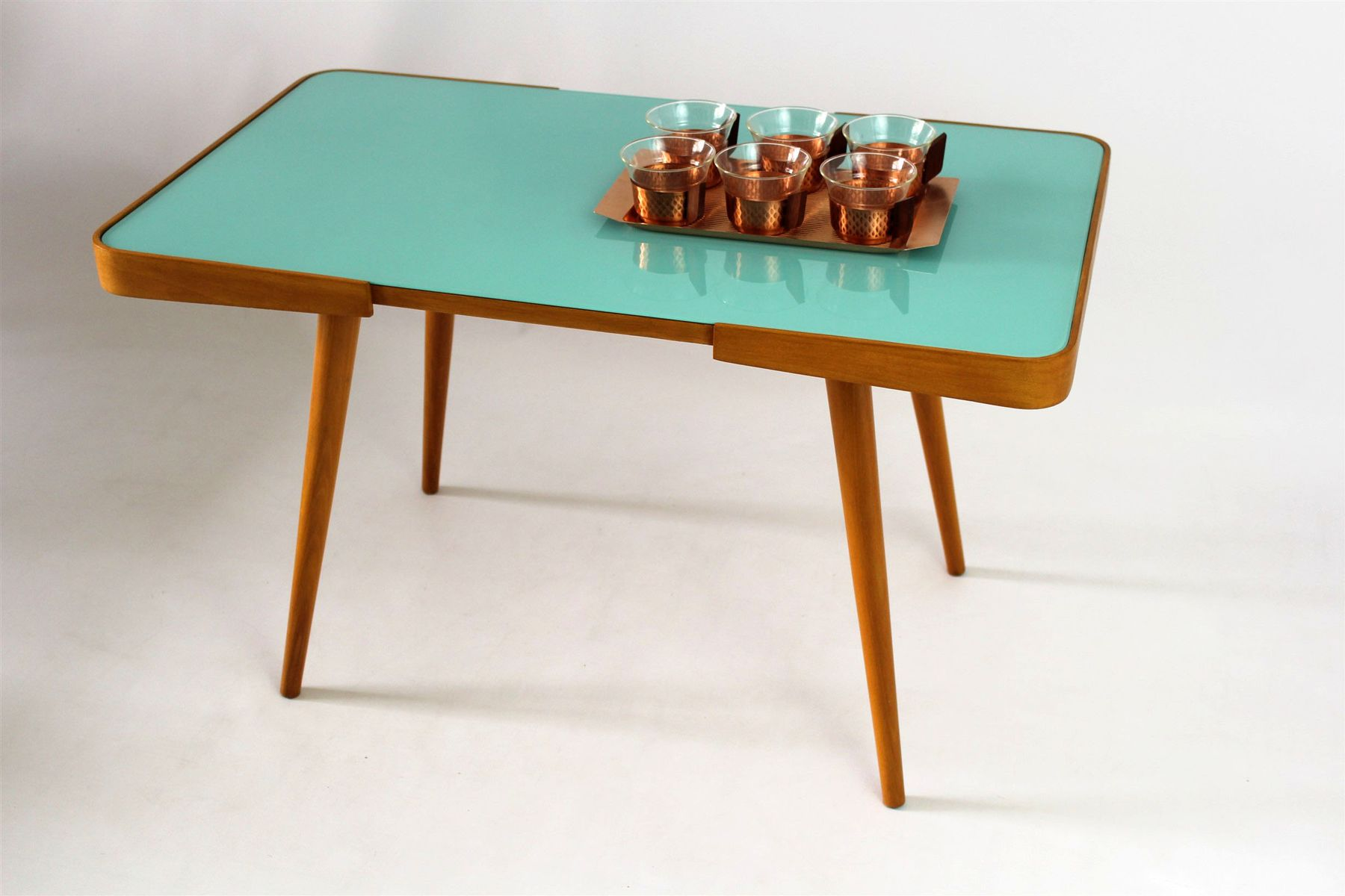 Czech Coffee Table with Glass Top by Jiř­ Jiroutek 1960s for sale