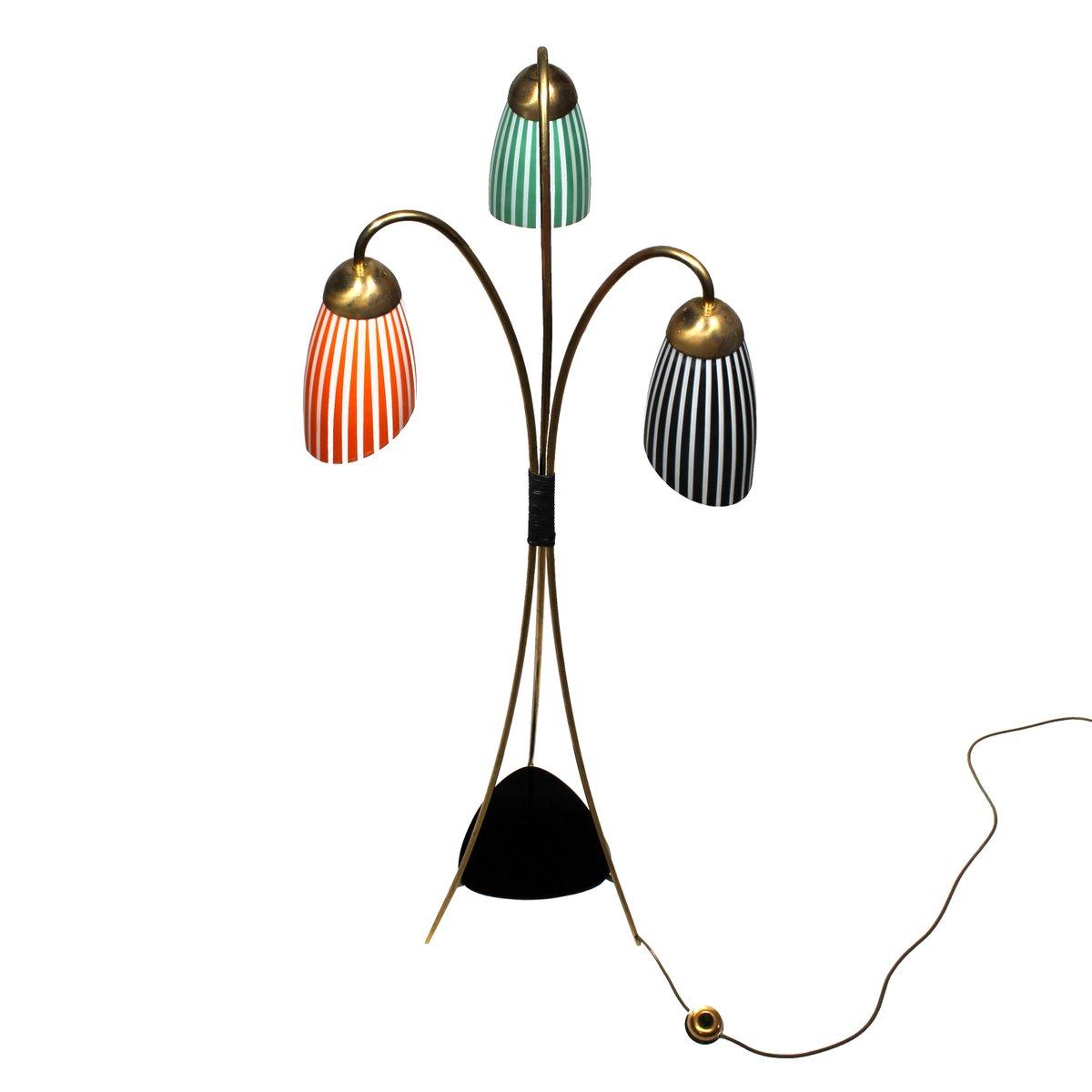 Stehlampe clipart  Dreibein Messing Stehlampe mit Glasleuchten, 1950er bei Pamono kaufen
