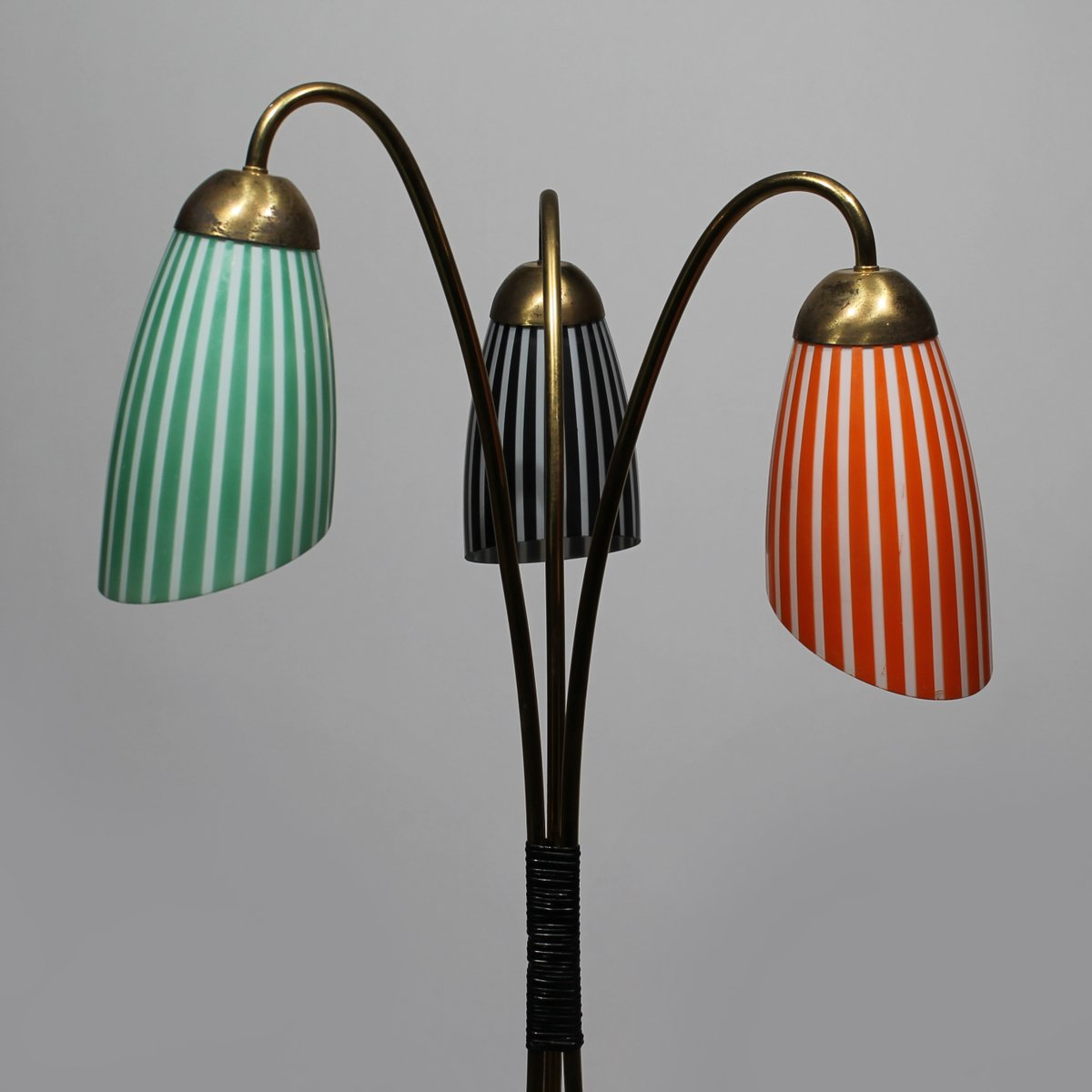 Tripod brass floor lamp with glass shades 1950s for sale for 1950 s brass floor lamp