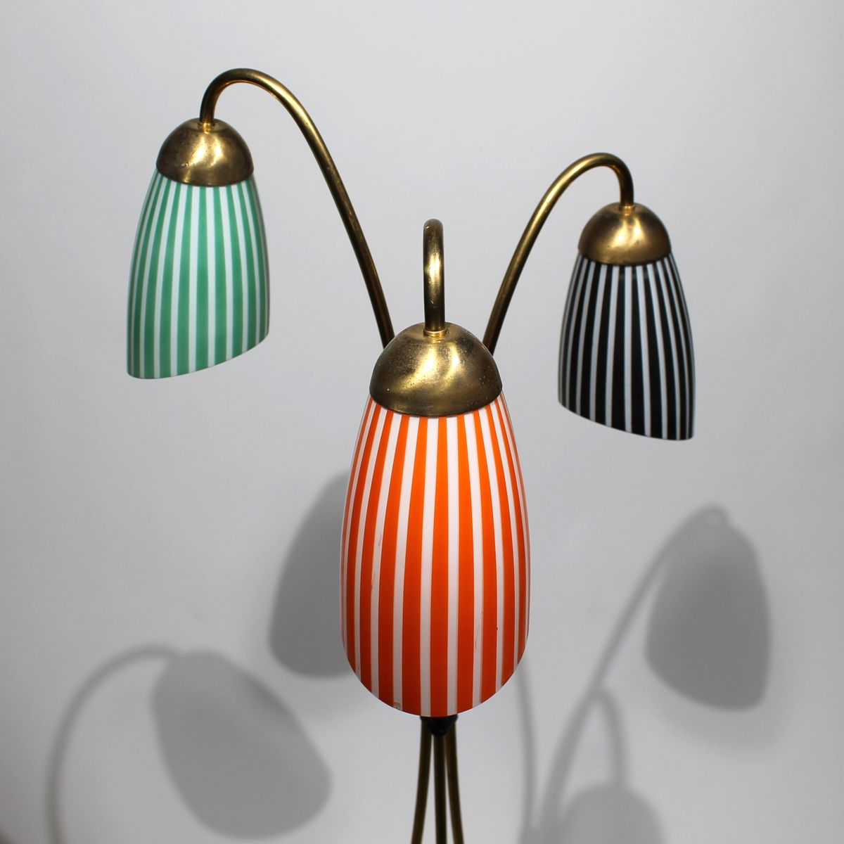 Tripod Brass Floor Lamp With Glass Shades, 1950s For Sale