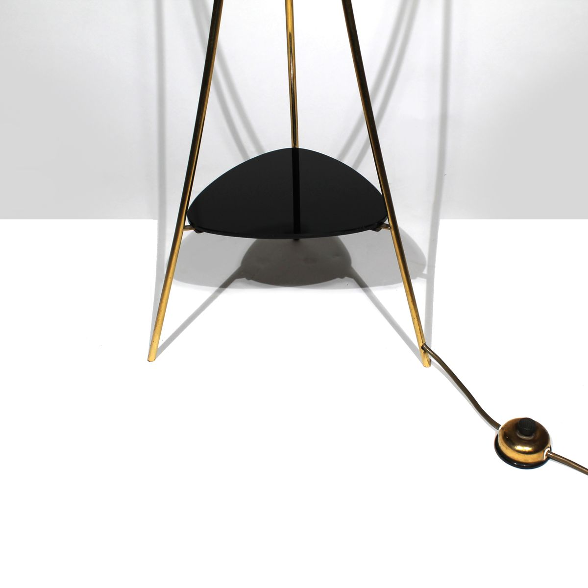 Tripod brass floor lamp with glass shades 1950s for sale for Brass tripod floor lamp uk