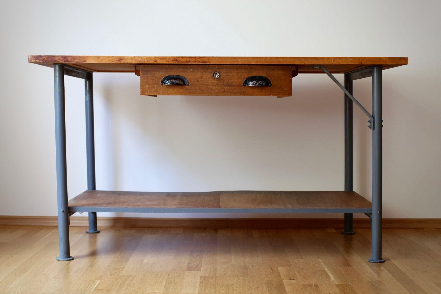 vintage werkstatt tisch bei pamono kaufen. Black Bedroom Furniture Sets. Home Design Ideas