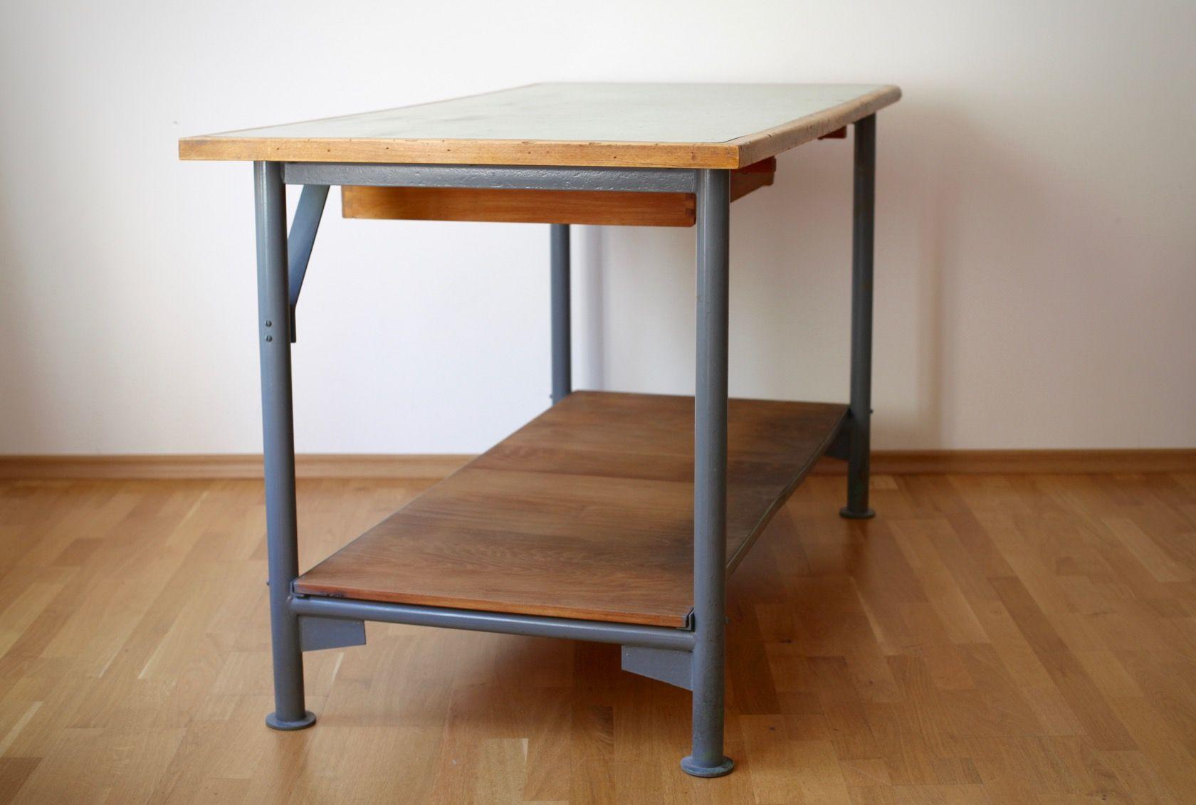Vintage werkstatt tisch bei pamono kaufen for Tisch retro