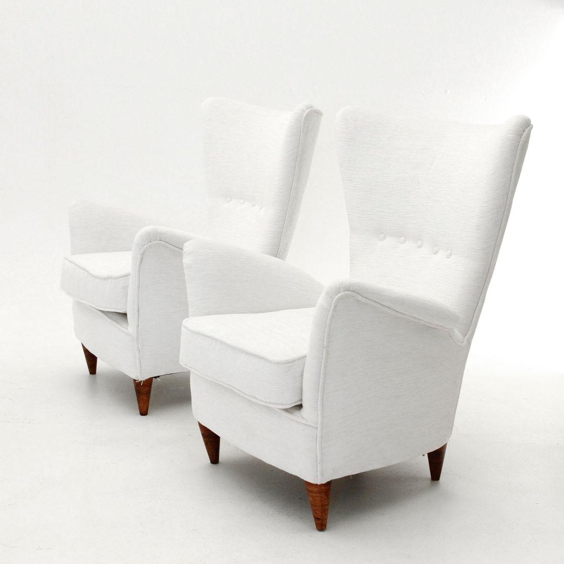 Italian White Velvet Armchair 1950s Set Of 2 For Sale At