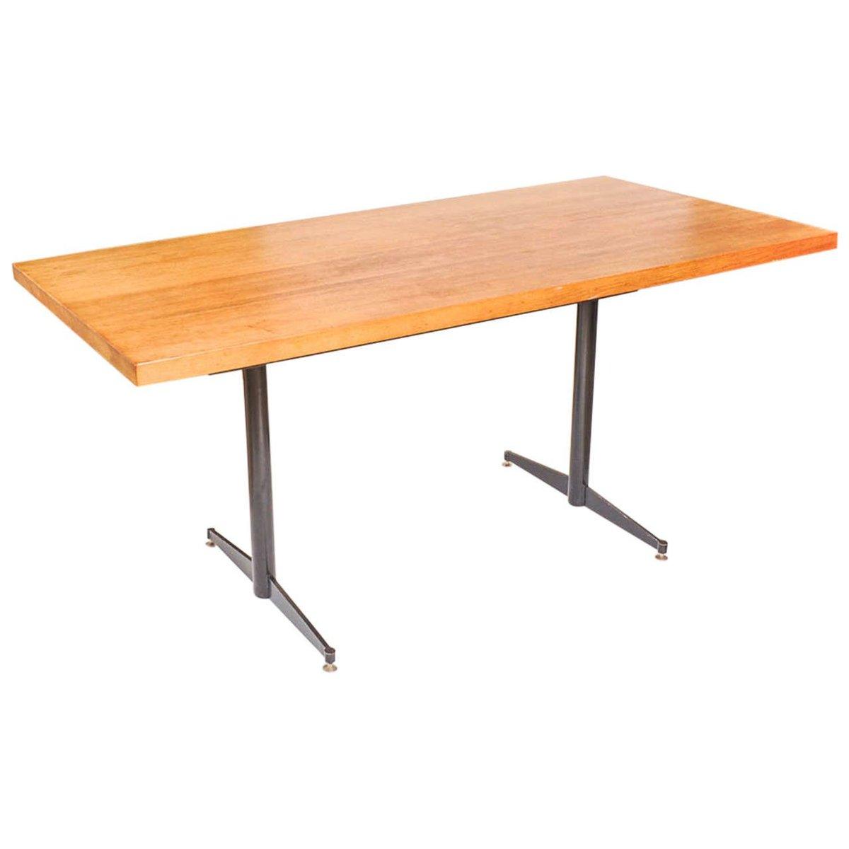 Vintage dining table in solid oak black steel for sale for Solid oak dining table