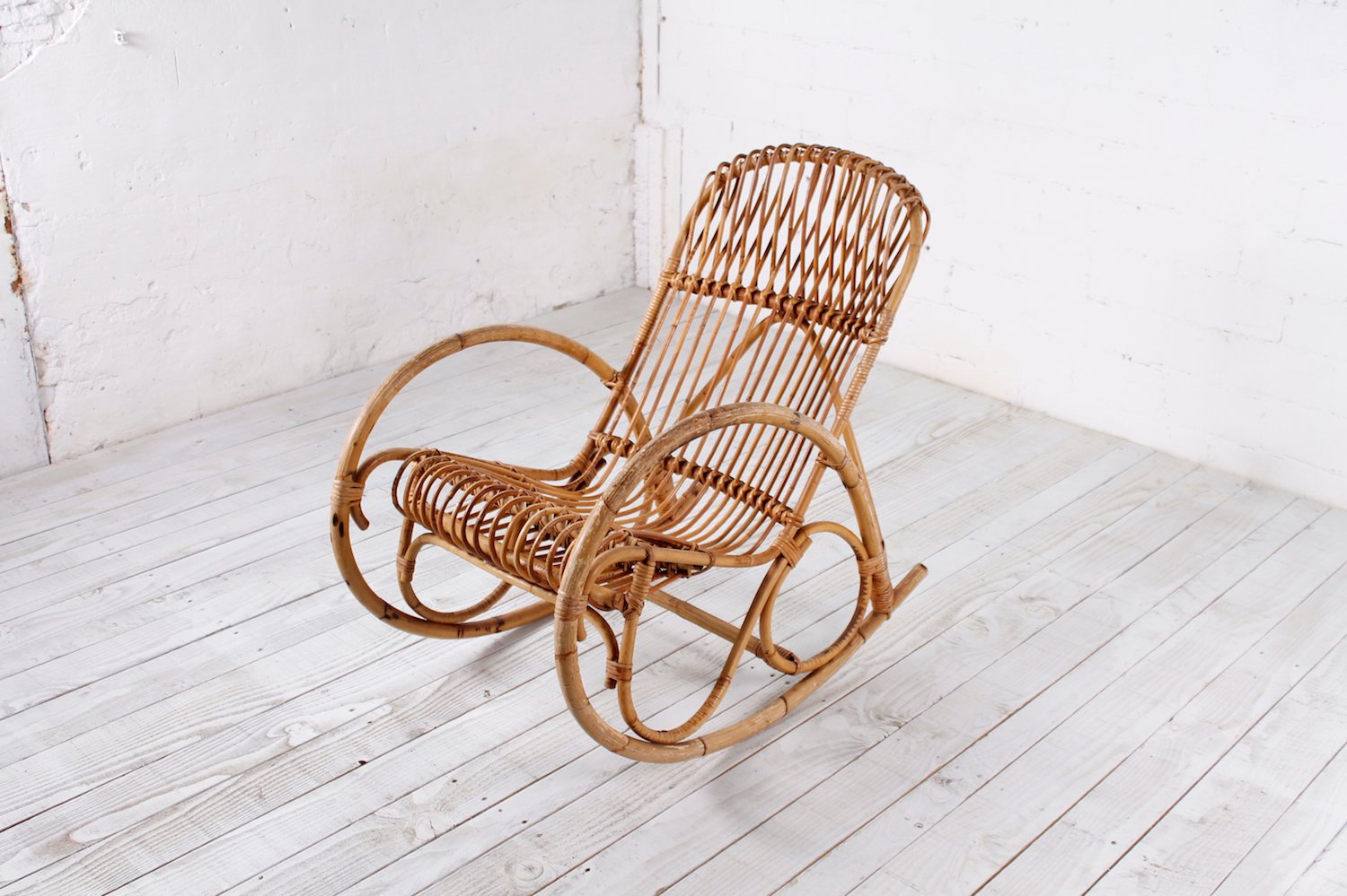 Bamboo rocking chair - Vintage Bamboo Rocking Chair 1950s