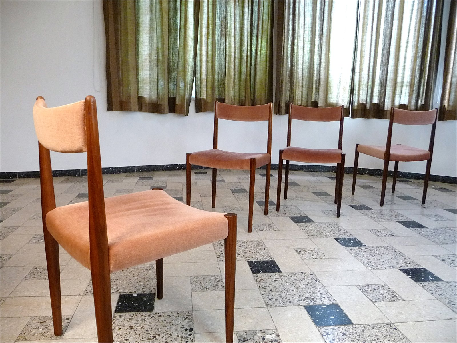 German Rosewood & Mohair Velvet Dining Chairs from Lübke 1960s